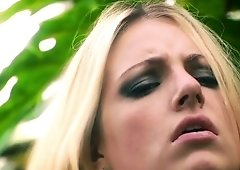 Fuck and facial in the jungle with a gorgeous young blonde