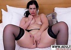 Euro Milf Montse Swinger  Gives Handjob Naughty Hotness Bud