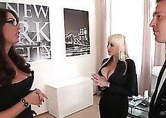 Busty slut in corset seduces business man