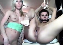 Lesbian BDSM action with sex toys