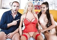 Colombian beauty has naughty threeway with a sex doll