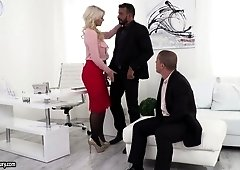 Bodacious ladyboss Layla Price is checking out dick s of two new employees