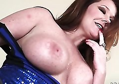 Freckled milf slut in a sparkly dress fondles her tits