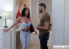 Hot friend's mommy Veronica Avluv shows her tits and takes a dick in her mouth