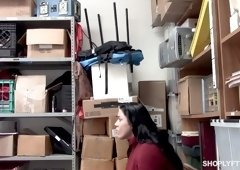 Curvy teen Monica Sage gets her pussy and mouth fucked in the back room