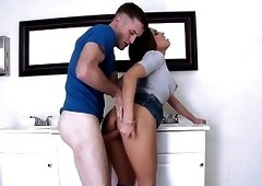 Passionate and dirty sex scene in public restroom