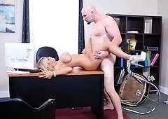 Bossy blonde vixen fucks her employee in the office
