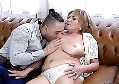 Lustful granny Sally G wants a young man to lick her shaved pussy clean