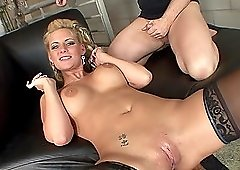 Blonde Phoenix Marie enjoys riding a dick while her tits bounce