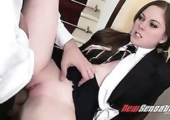Saucy girl Scarlett Fay getting nailed deep in her tight pussy in a missionary position