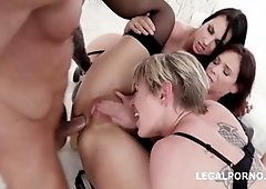 Milfs are having group sex with one lucky man
