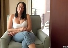 Winsome breasty mature woman is sucking my dick