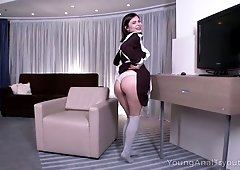 Yummy college chick Erika Korti gets her anus fucked for the first time