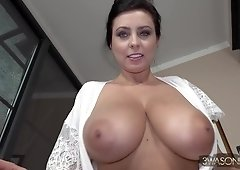 Big-Titted Brunette Beauty Exposing her Massive Knockers