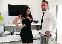 Horny secretary gets caught masturbating in the office