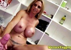 Hugetitted stepmom wanks POV cock till cum