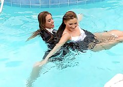 Gorgeous Nikky Thorne with heeled amateur in a marvelous wetlook scene.