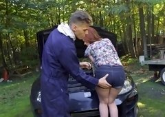 Ella Hughes got her ass fucked outside by mechanic's fat meat tool