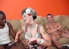 Awesome interracial pussy bashing with a cheater Candy Monroe